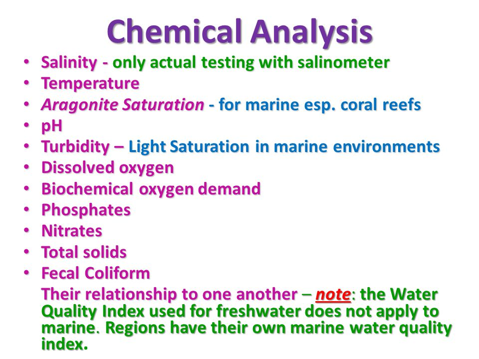 Chemical Analysis Salinity - only actual testing with salinometer