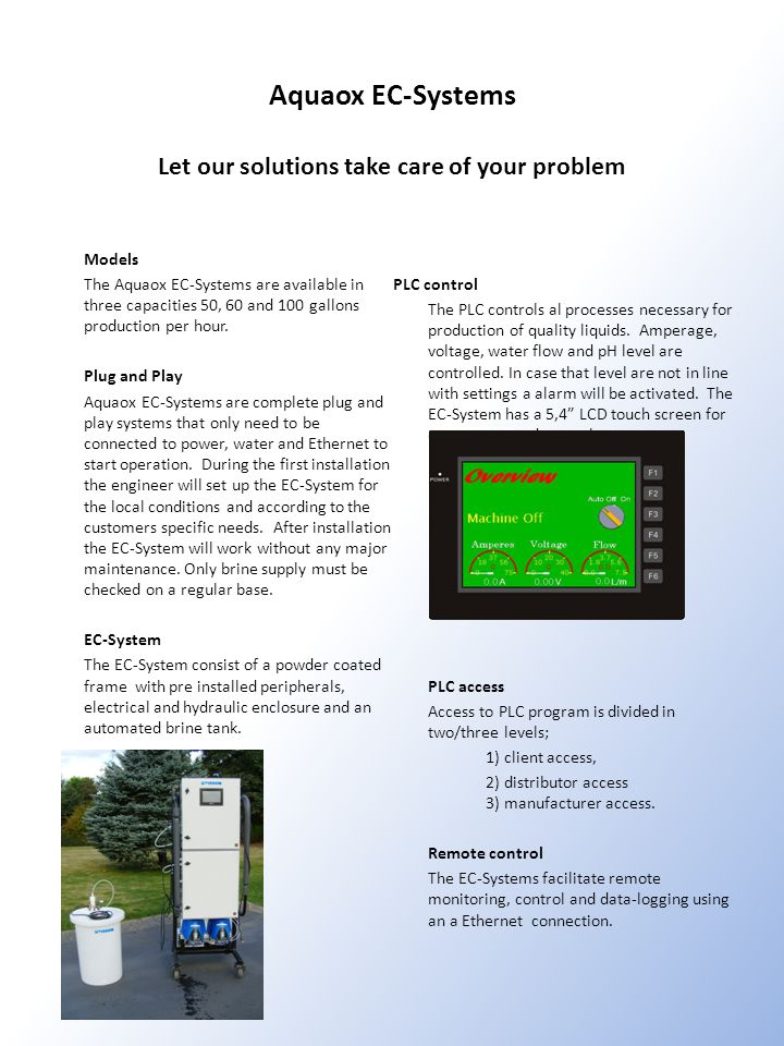Aquaox EC-Systems Let our solutions take care of your problem