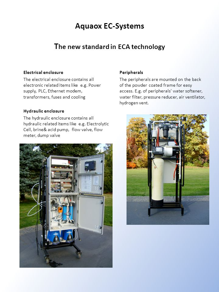 Aquaox EC-Systems The new standard in ECA technology