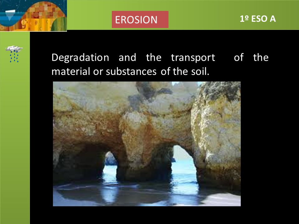 EROSION 1º ESO A Degradation and the transport of the material or substances of the soil.