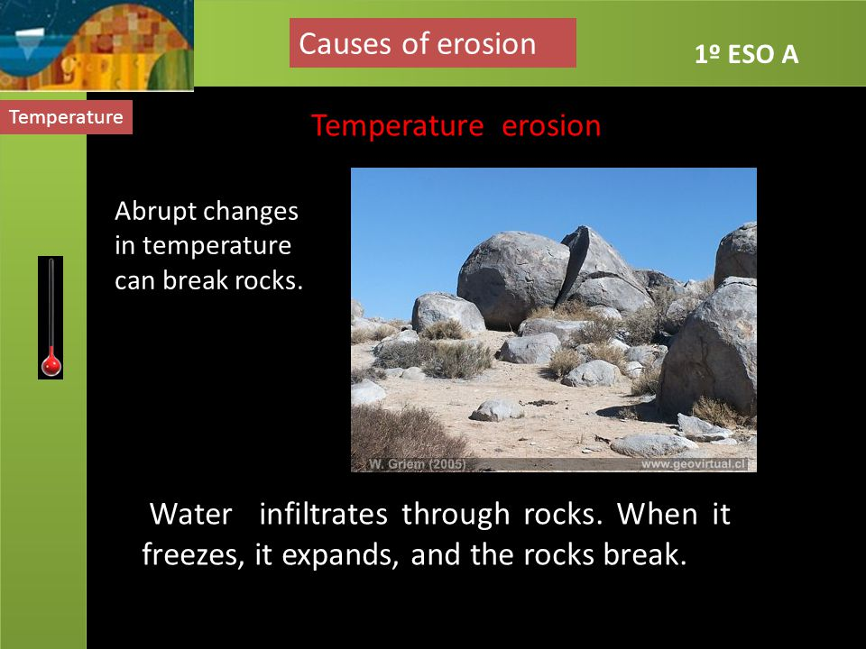 Causes of erosion Temperature erosion