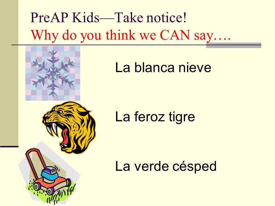 PreAP Kids—Take notice! Why do you think we CAN say….