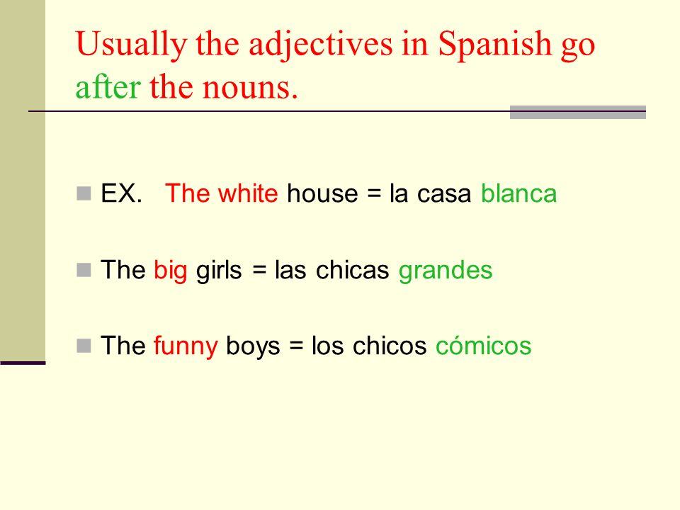 Usually the adjectives in Spanish go after the nouns.