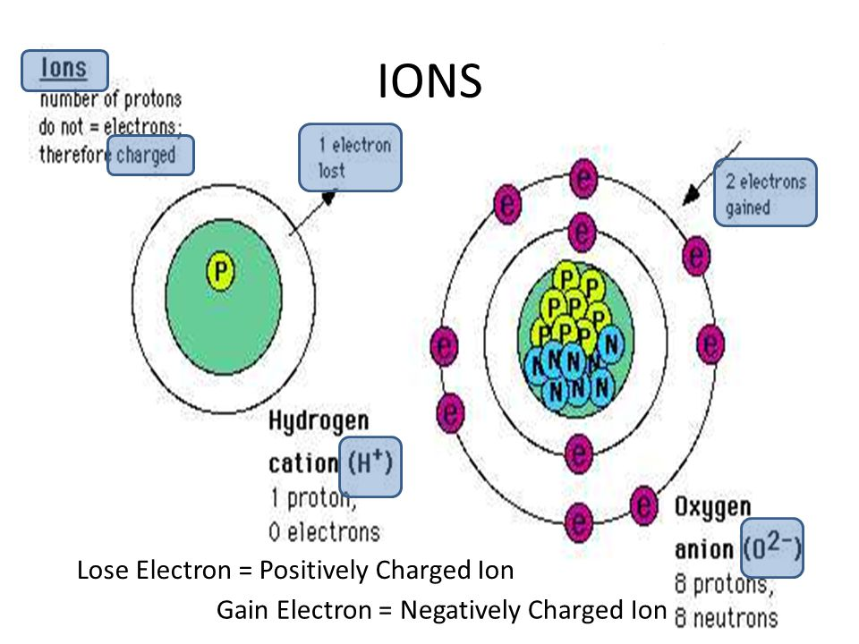 IONS Lose Electron = Positively Charged Ion