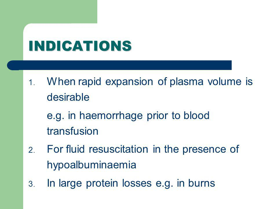 INDICATIONS When rapid expansion of plasma volume is desirable