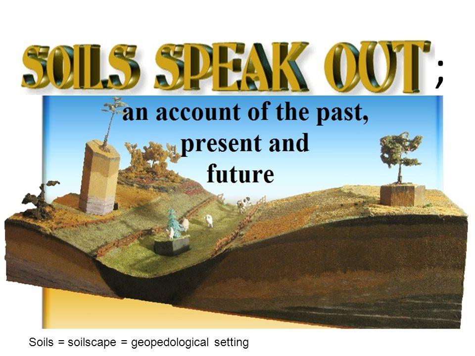 ; Soils = soilscape = geopedological setting
