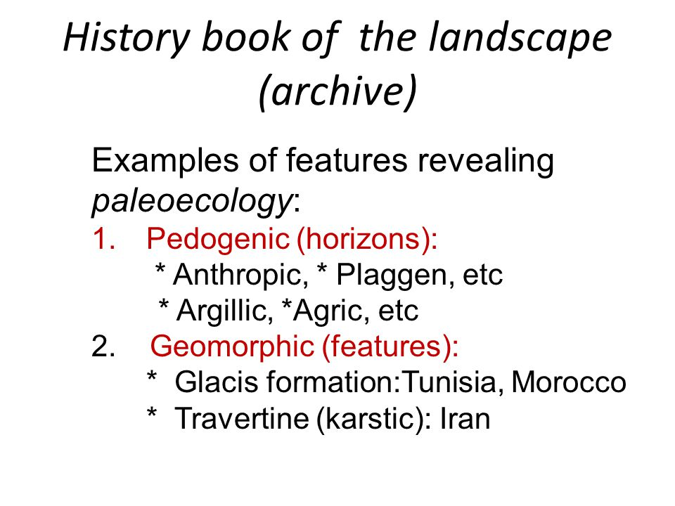 History book of the landscape (archive)