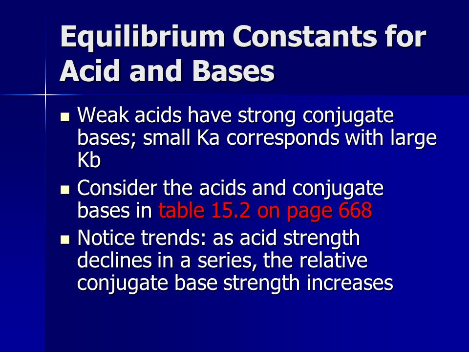 Equilibrium Constants for Acid and Bases