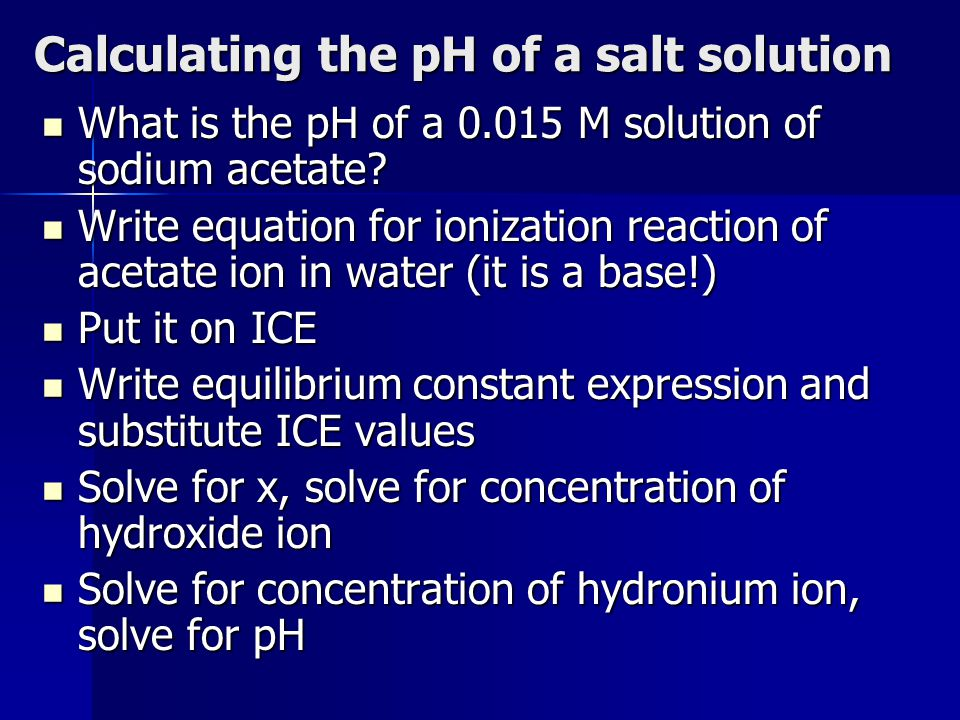Calculating the pH of a salt solution