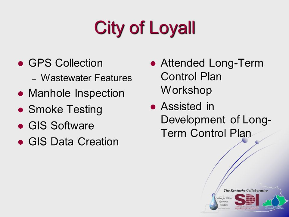 City of Loyall GPS Collection Manhole Inspection Smoke Testing