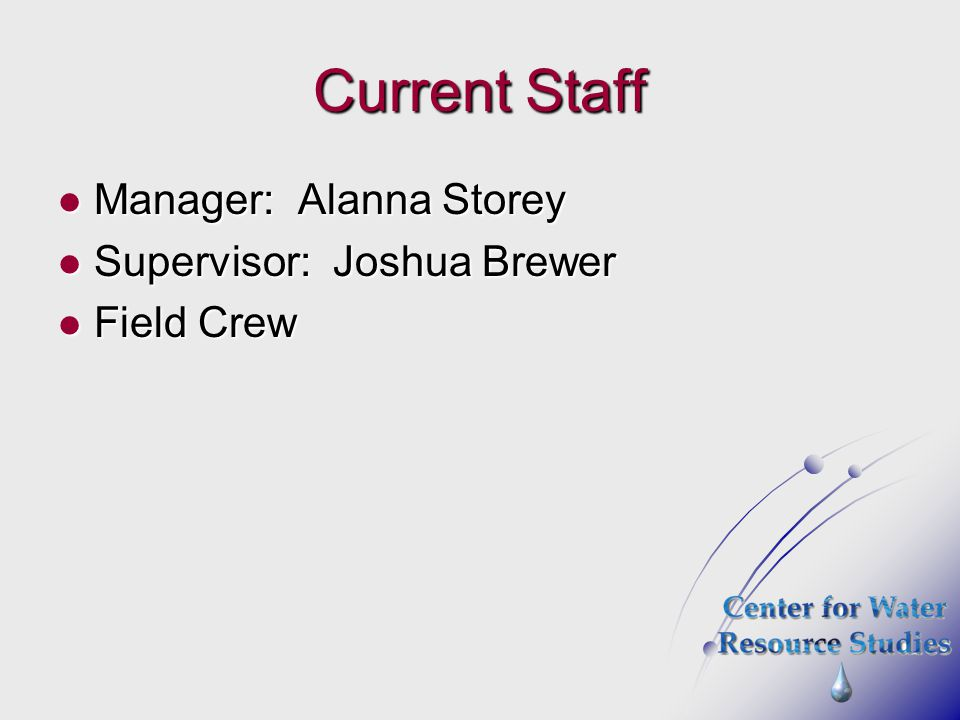 Current Staff Manager: Alanna Storey Supervisor: Joshua Brewer