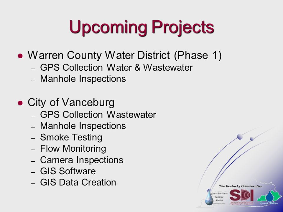 Upcoming Projects Warren County Water District (Phase 1)