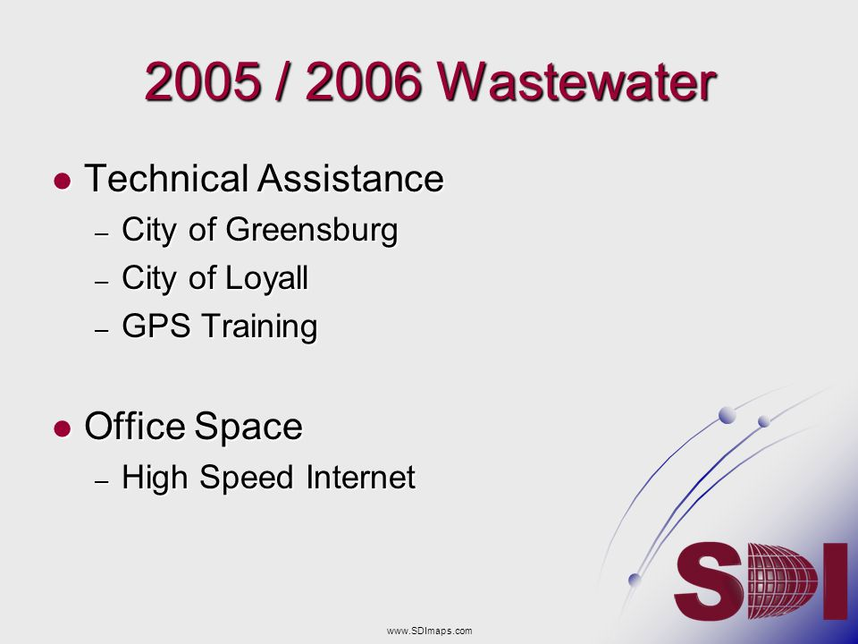 2005 / 2006 Wastewater Technical Assistance Office Space