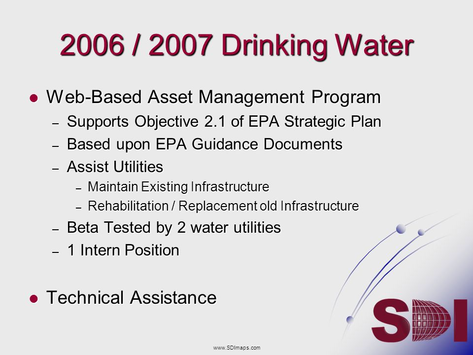 2006 / 2007 Drinking Water Web-Based Asset Management Program