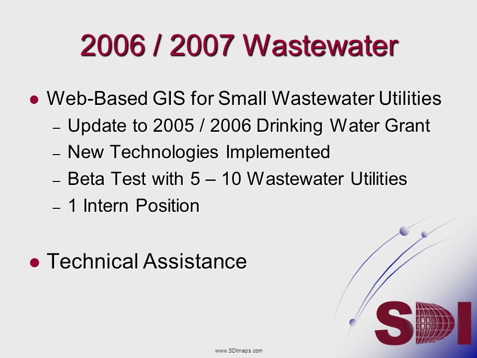 2006 / 2007 Wastewater Technical Assistance