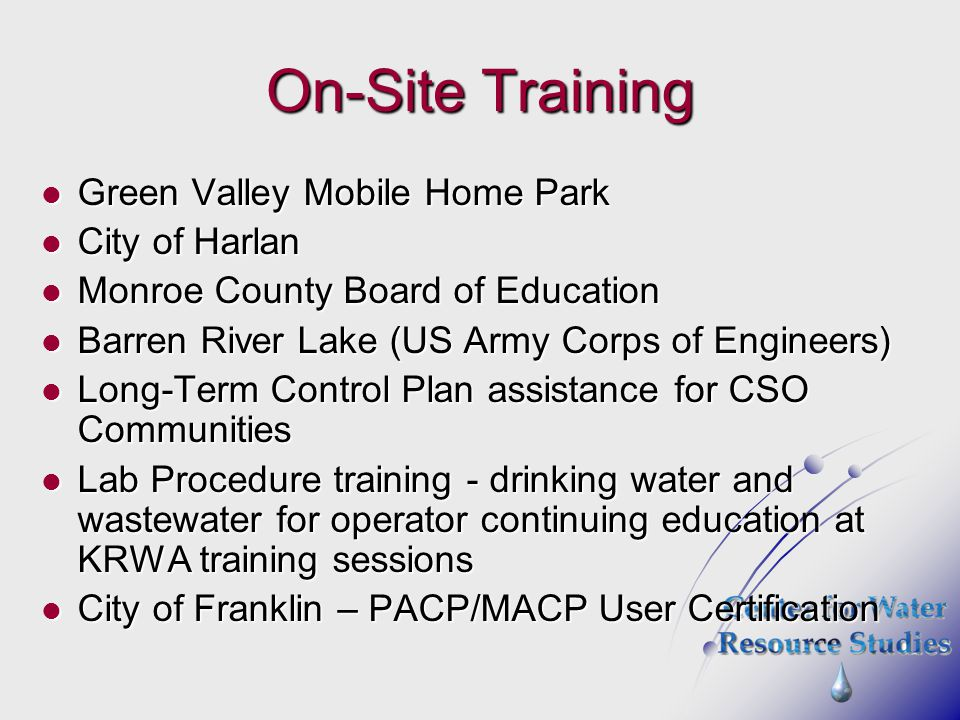 On-Site Training Green Valley Mobile Home Park City of Harlan