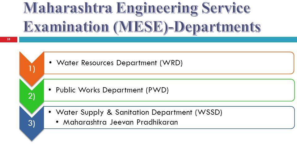 Maharashtra Engineering Service Examination (MESE)-Departments