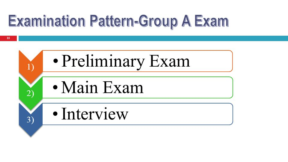 Preliminary Exam Main Exam Interview Examination Pattern-Group A Exam