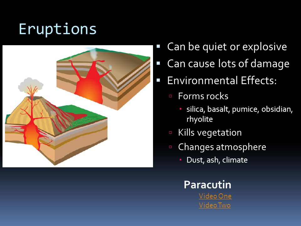 Eruptions Can be quiet or explosive Can cause lots of damage