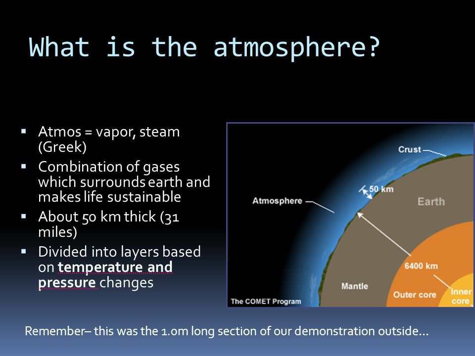 What is the atmosphere Atmos = vapor, steam (Greek)