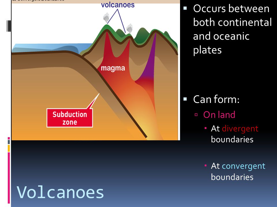 Volcanoes Occurs between both continental and oceanic plates Can form: