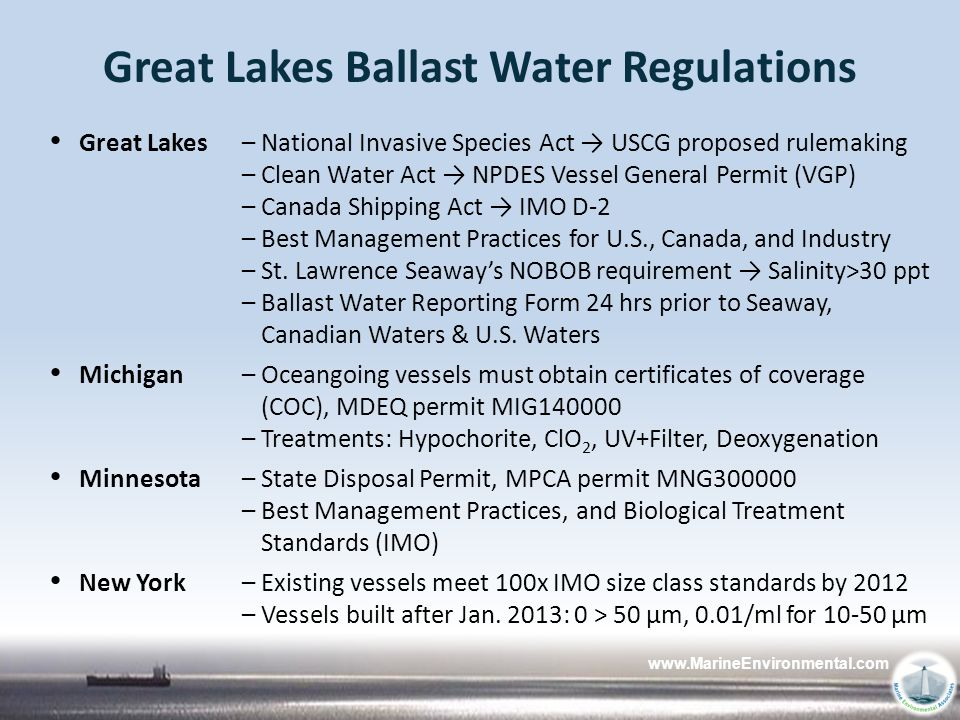 Great Lakes Ballast Water Regulations