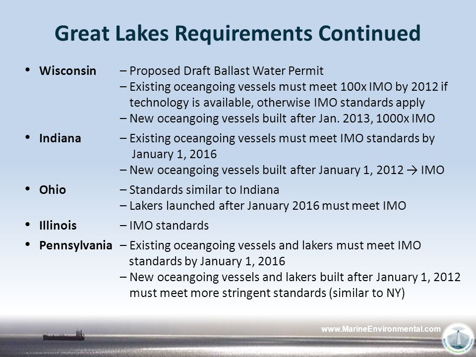Great Lakes Requirements Continued