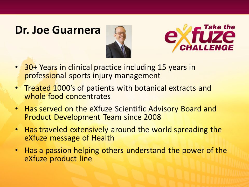 Dr. Joe Guarnera 30+ Years in clinical practice including 15 years in professional sports injury management.
