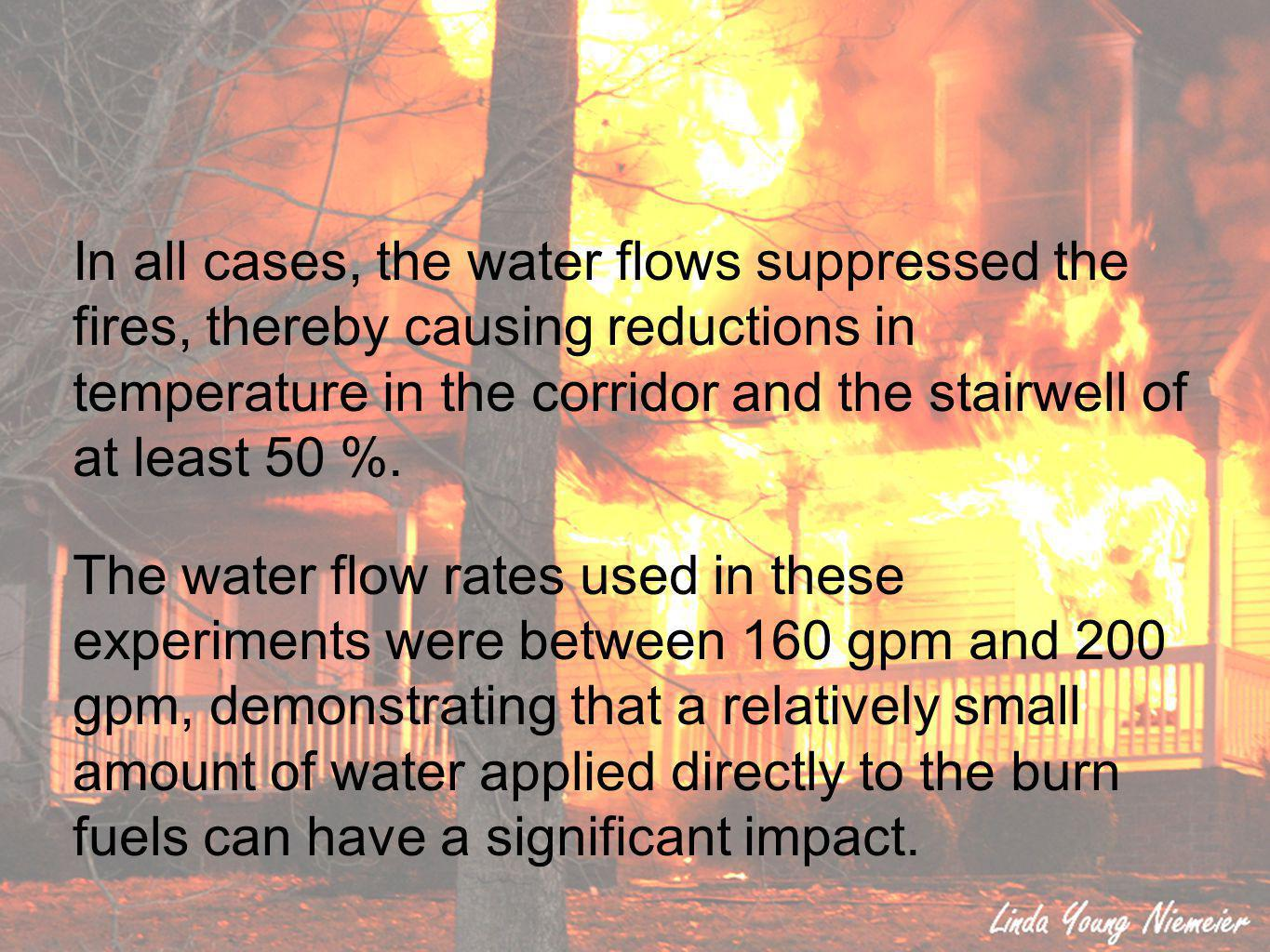 In all cases, the water flows suppressed the fires, thereby causing reductions in temperature in the corridor and the stairwell of at least 50 %.