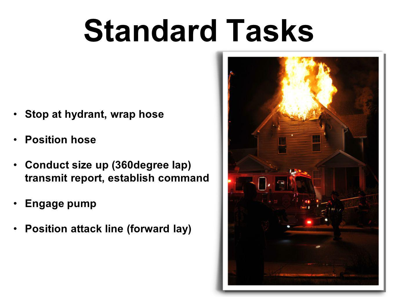 Standard Tasks Stop at hydrant, wrap hose Position hose