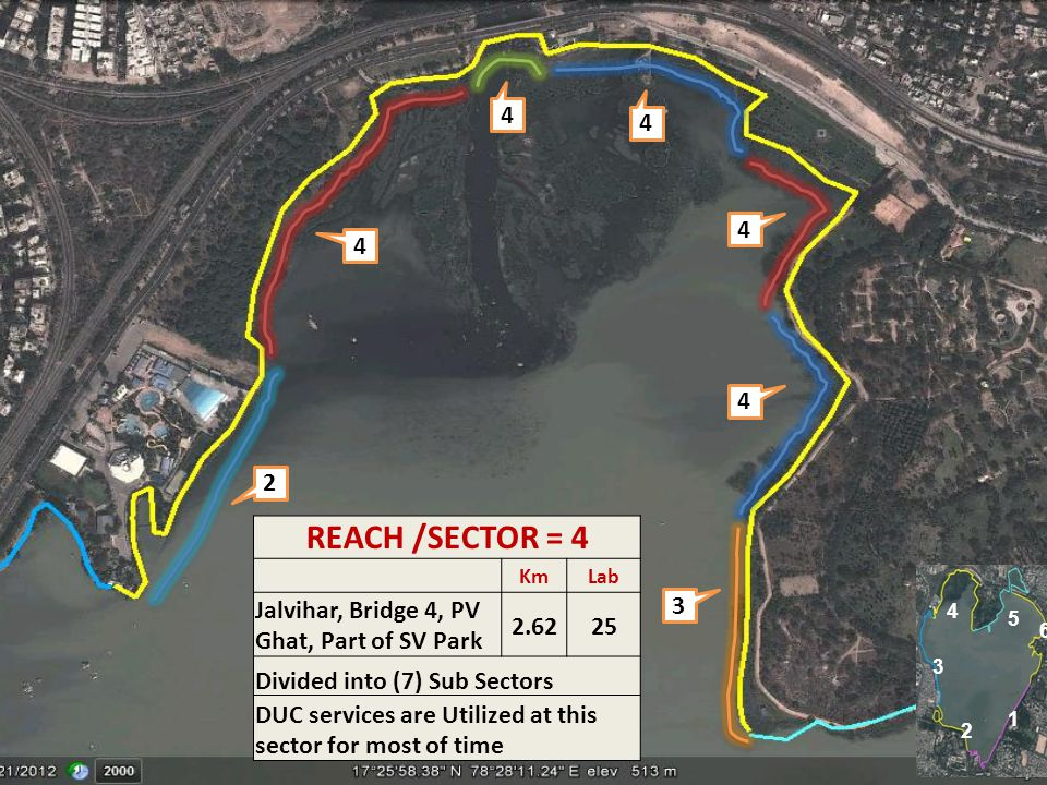 4 4. 4. 4. 4. 2. REACH /SECTOR = 4. Km. Lab. Jalvihar, Bridge 4, PV Ghat, Part of SV Park. 2.62.