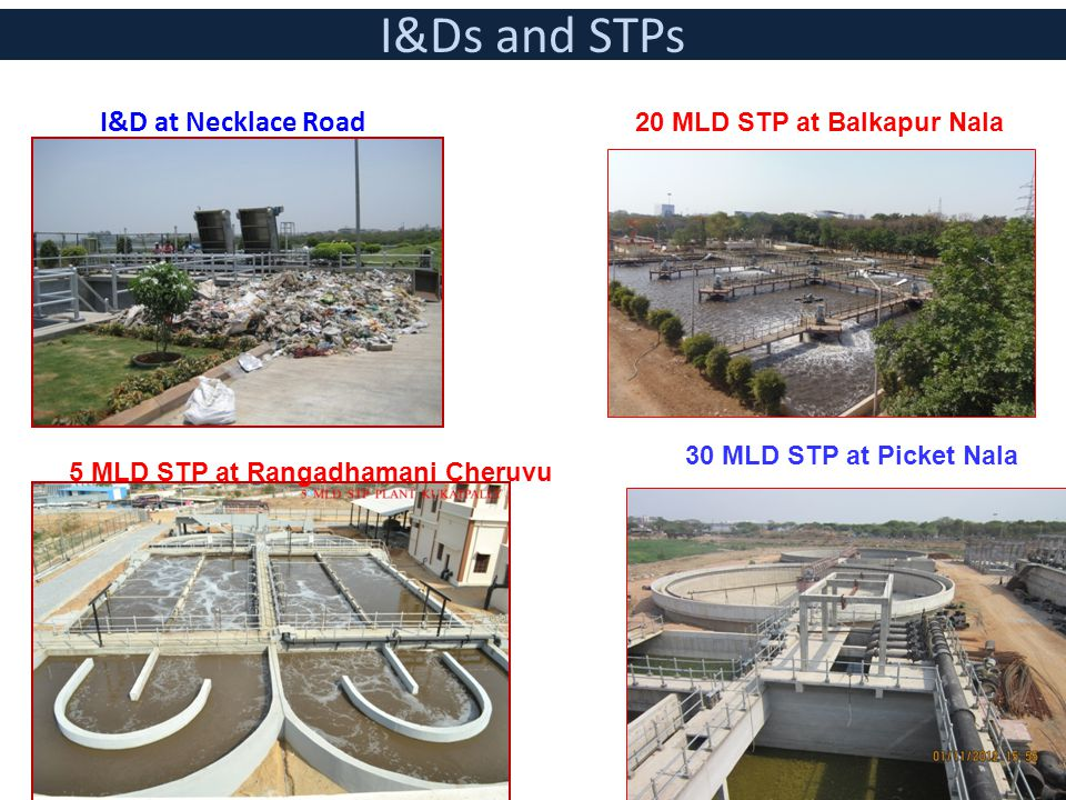 I&Ds and STPs I&D at Necklace Road 20 MLD STP at Balkapur Nala