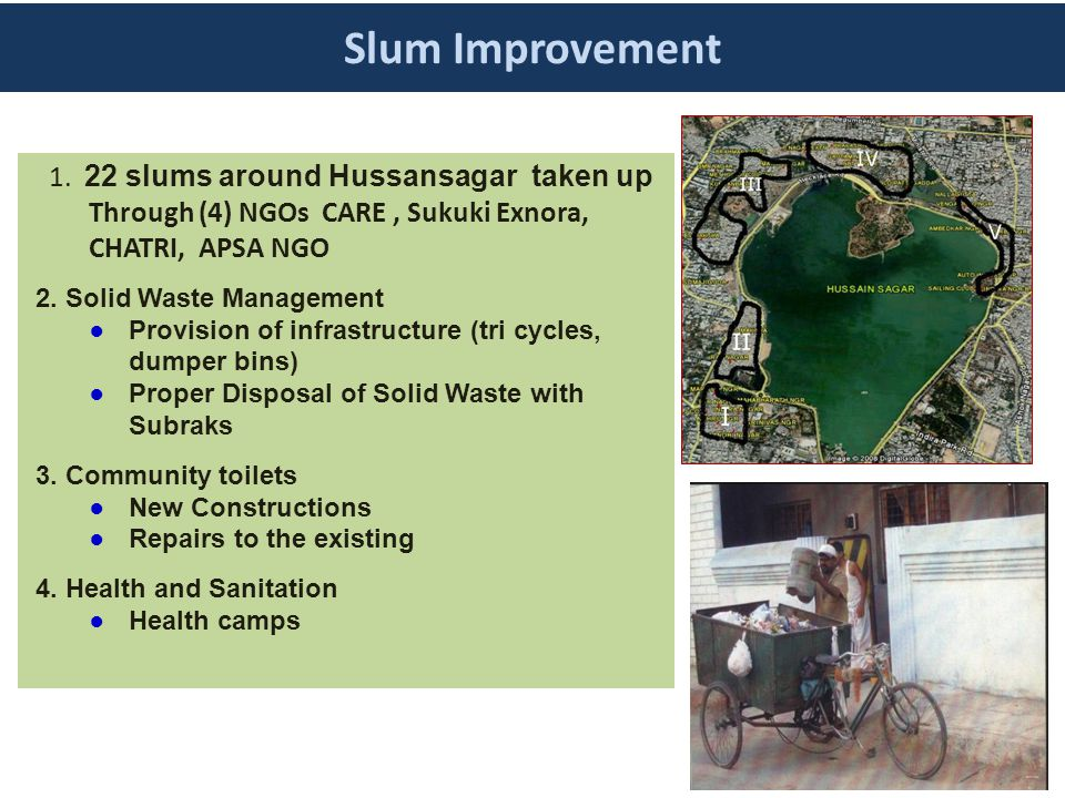 Slum Improvement 1. 22 slums around Hussansagar taken up