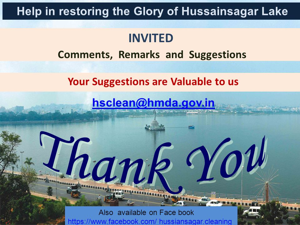 Thank You INVITED Help in restoring the Glory of Hussainsagar Lake