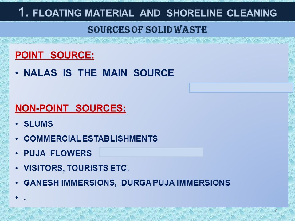 1. FLOATING MATERIAL AND SHORELINE CLEANING