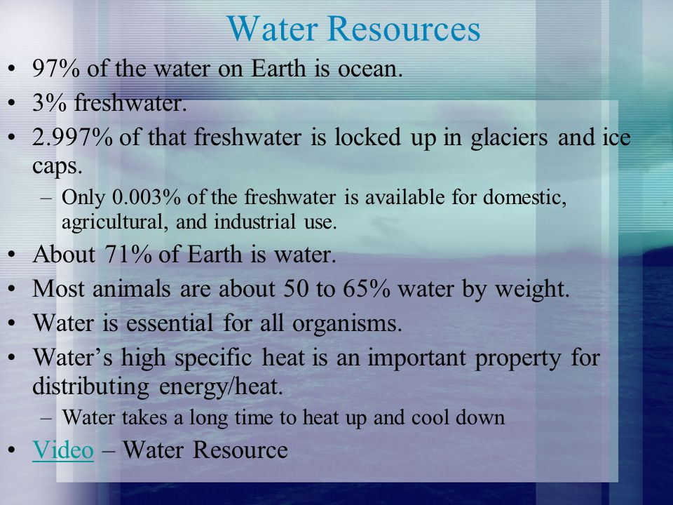 Water Resources 97% of the water on Earth is ocean. 3% freshwater.