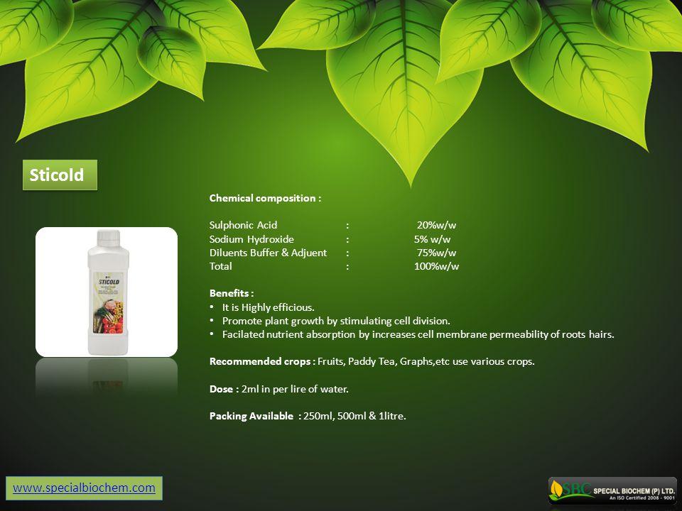 Sticold www.specialbiochem.com Chemical composition :