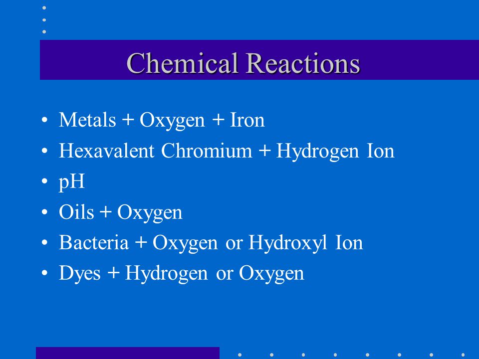 Chemical Reactions Metals + Oxygen + Iron