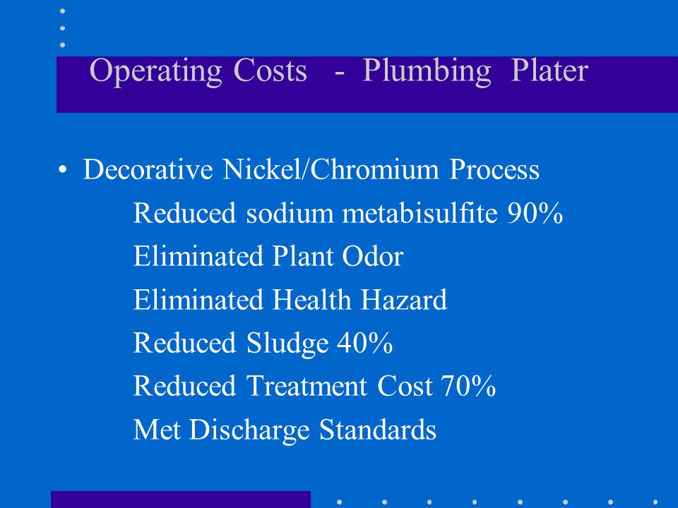 Operating Costs - Plumbing Plater