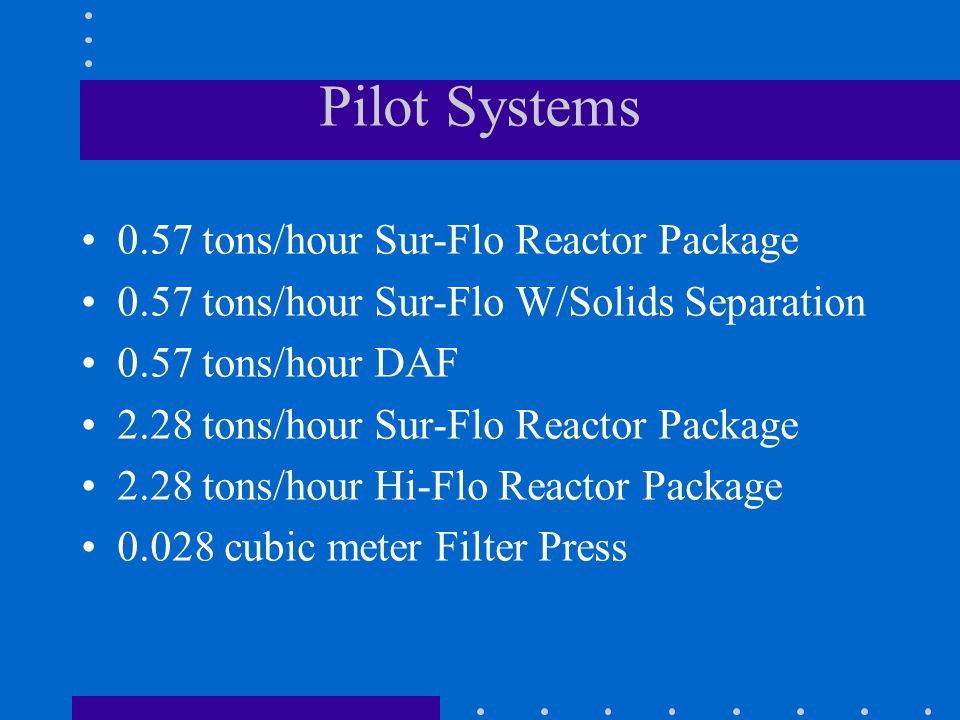 Pilot Systems 0.57 tons/hour Sur-Flo Reactor Package