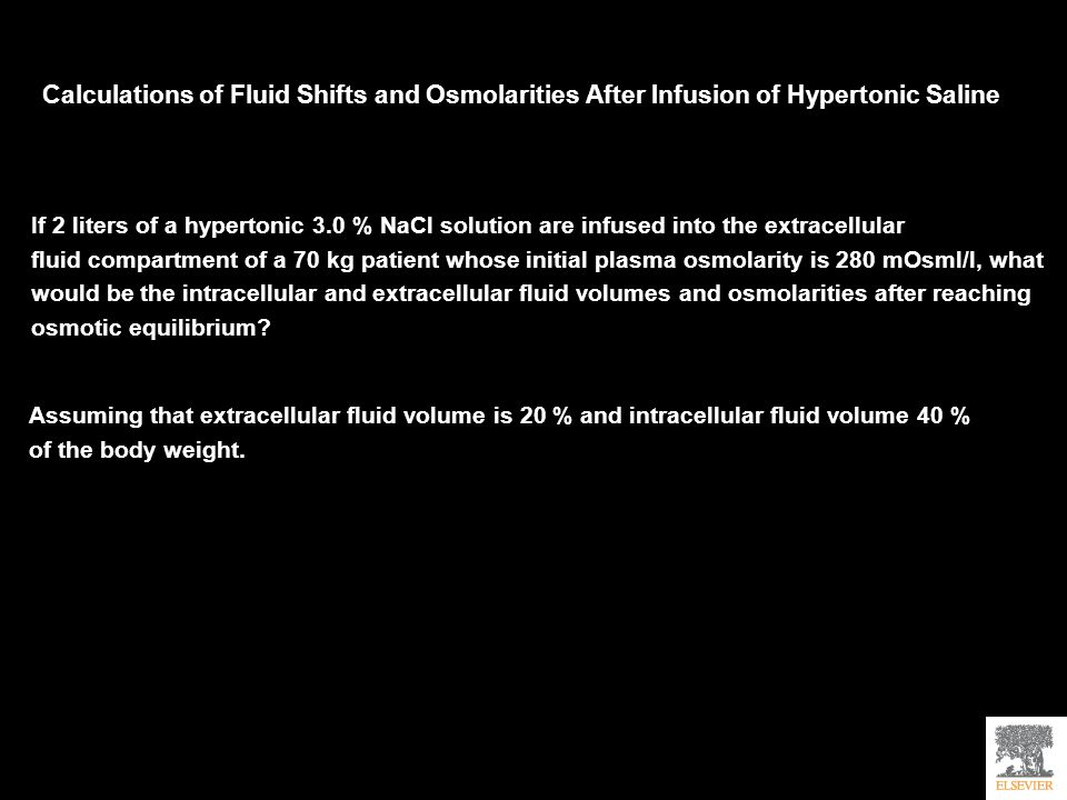 Calculations of Fluid Shifts and Osmolarities After Infusion of Hypertonic Saline