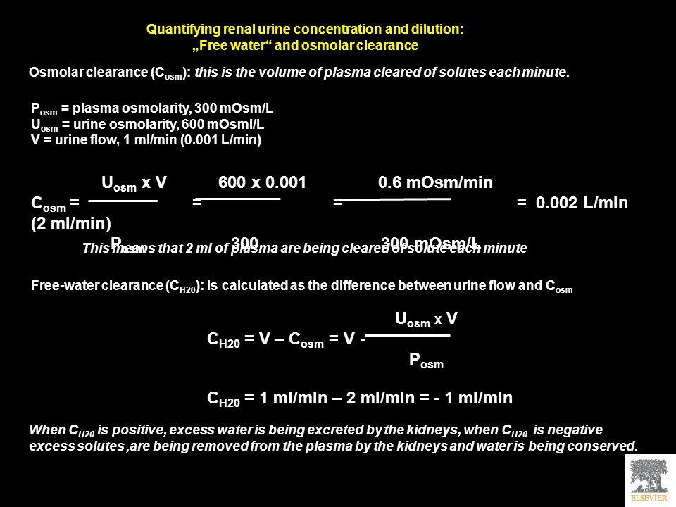 Cosm = = = = 0.002 L/min (2 ml/min) Posm 300 300 mOsm/L