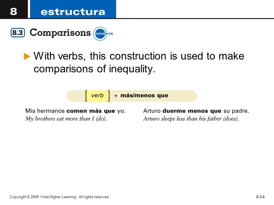 With verbs, this construction is used to make comparisons of inequality.