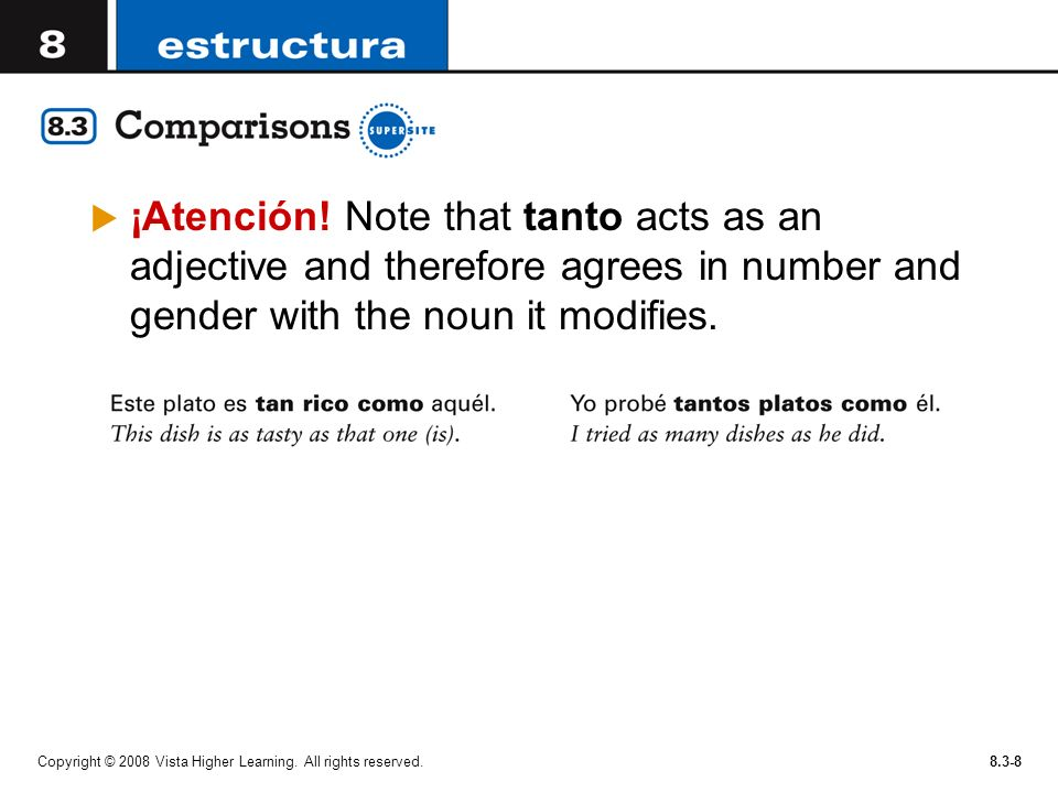 ¡Atención! Note that tanto acts as an adjective and therefore agrees in number and gender with the noun it modifies.