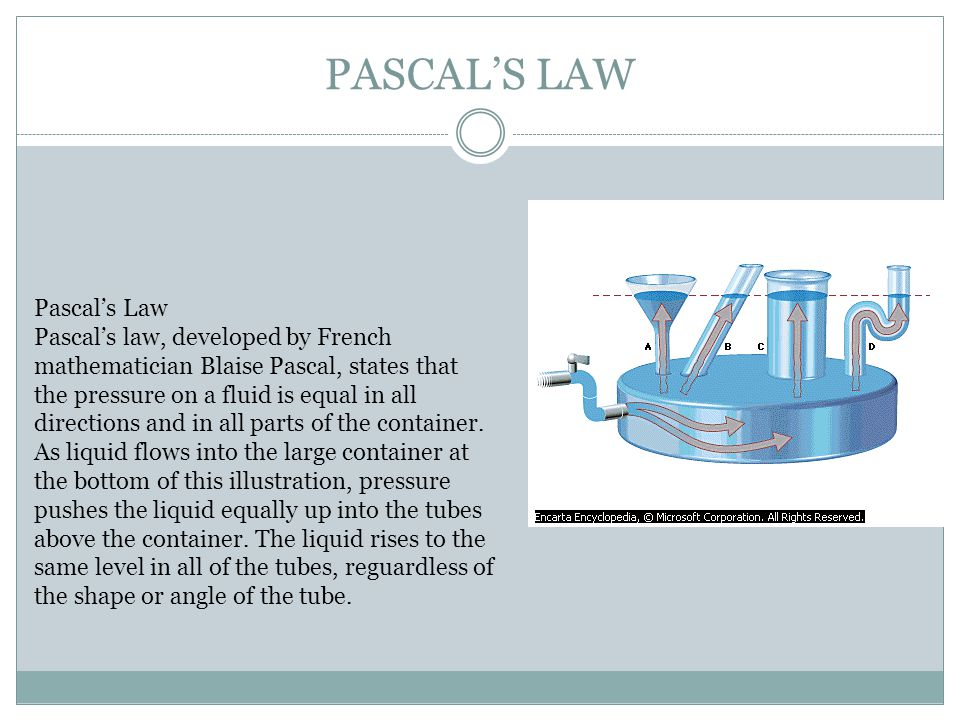 PASCAL'S LAW Pascal's Law