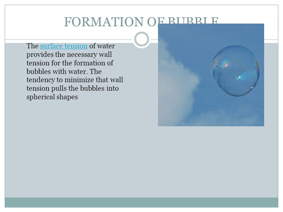 FORMATION OF BUBBLE