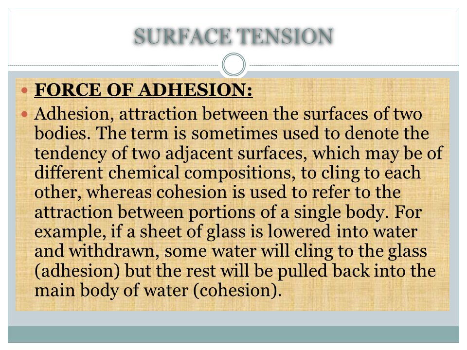 SURFACE TENSION FORCE OF ADHESION:
