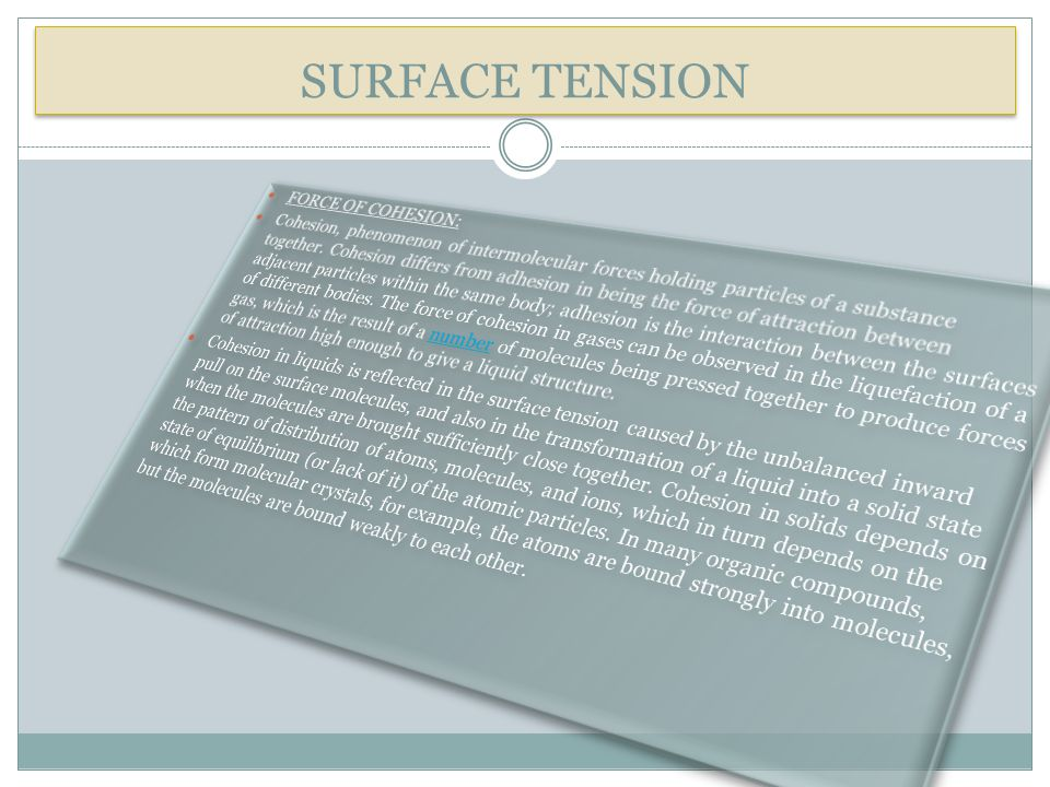 SURFACE TENSION FORCE OF COHESION: