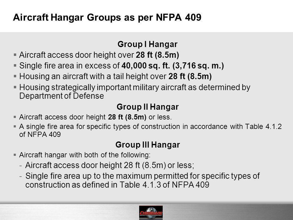 Aircraft Hangar Groups as per NFPA 409