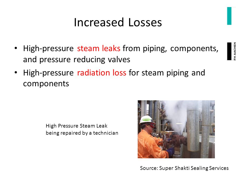 Increased Losses High-pressure steam leaks from piping, components, and pressure reducing valves.